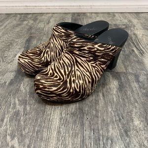 DANSKO Animal Print Calf Hair Clogs Size 38 / US 8